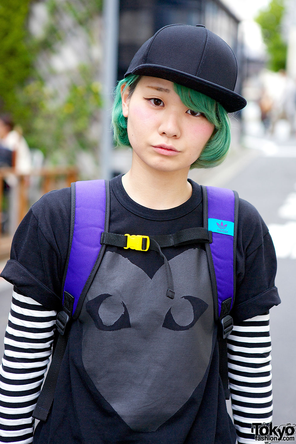 Green Haired Girl In Comme Des Garcons Harem Pants Adidas