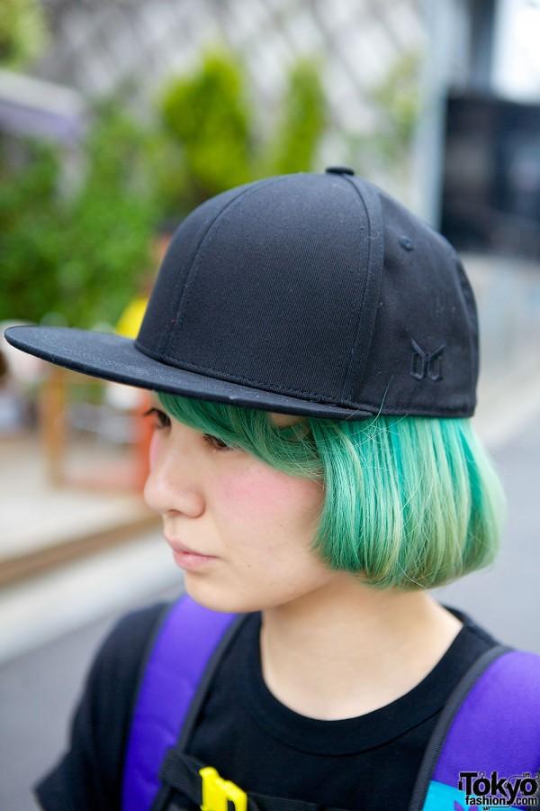 Green Hair Black Cap