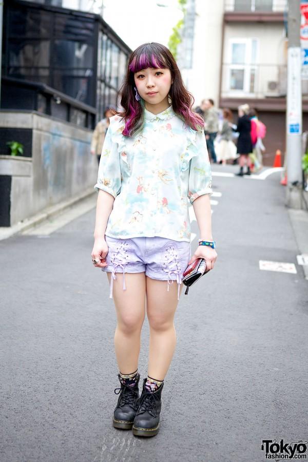 Candy Stripper & Cherub-print w/ Purple Highlights in Harajuku