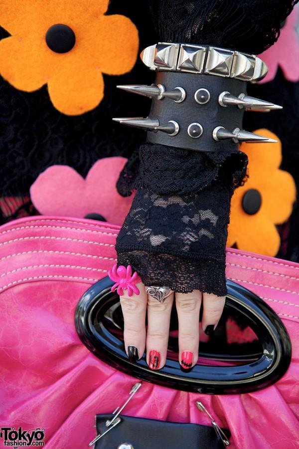 Spike Bracelet & Lace Glove