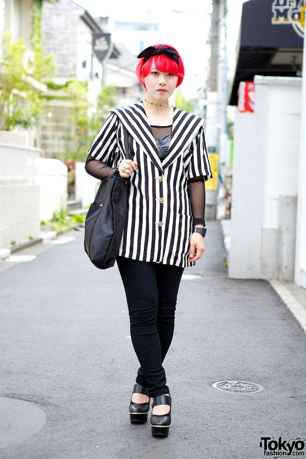 Bright Red Hair w/ Galaxxxy, Stripes & Giraffe Ring in Harajuku