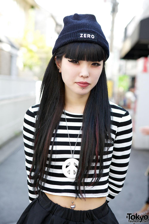 Crop Top & Peplum Pants w/ Alice Black & Bubbles Harajuku Accessories