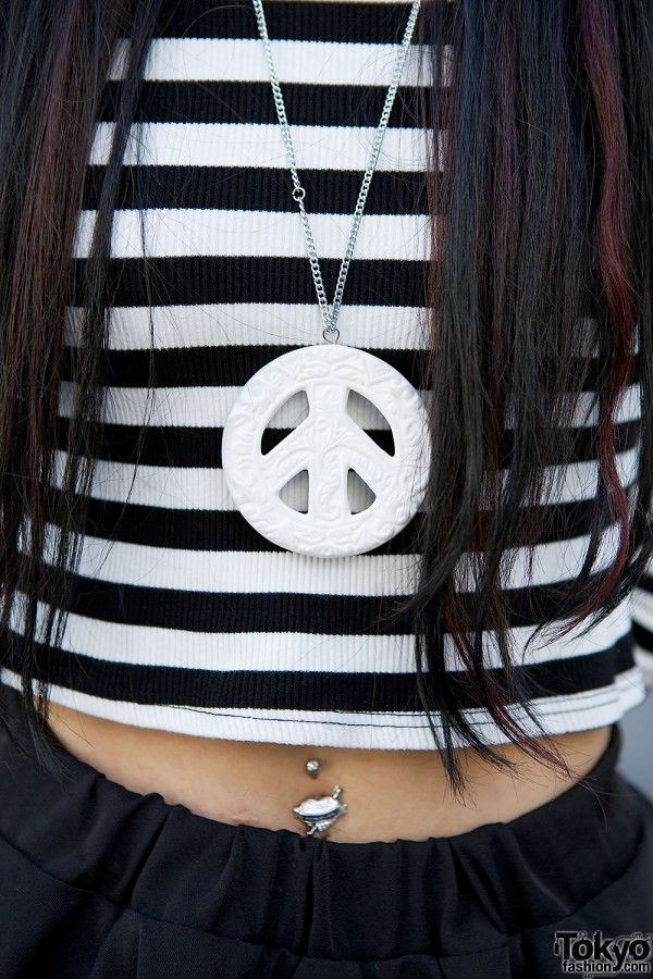 Peace Sign Necklace & Belly Button Piercing
