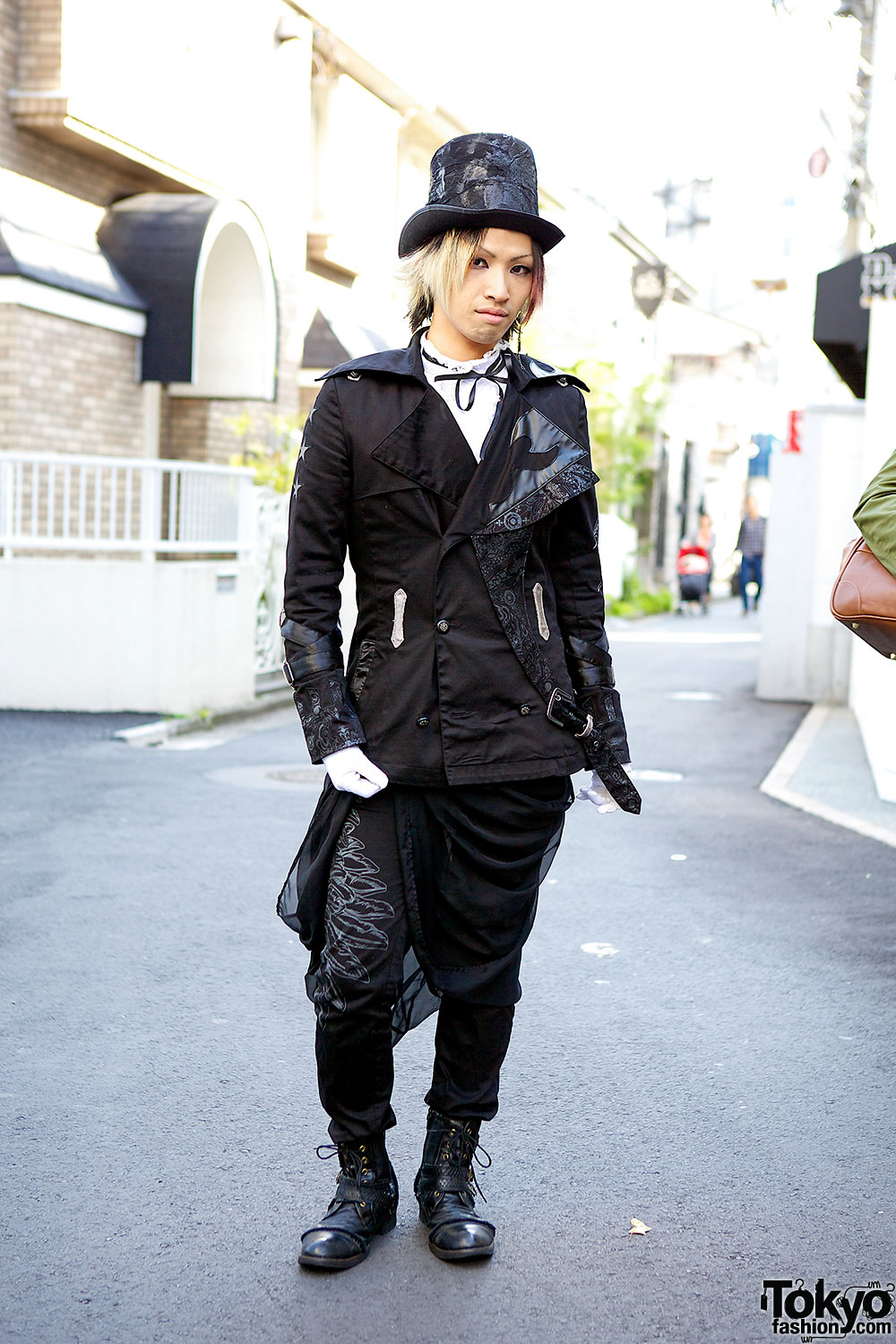 H Naoto Staffer 39 S Dark Harajuku Style W Top Hat Black Jacket Boots