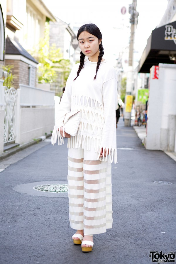 Norihisa Ota Cutout Fringe Top & Sheer Stripes w/ Bebe in Harajuku