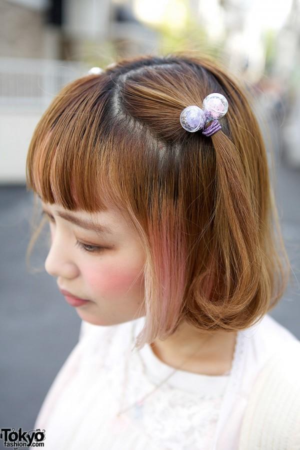 Pink Streaked Hair in Harajuku