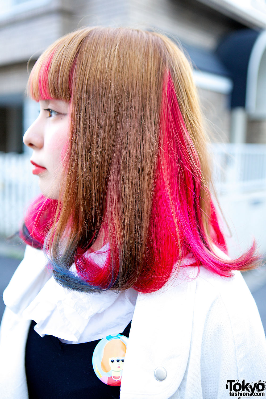 Pink And Black Hair Highlights Pink & blue underdye