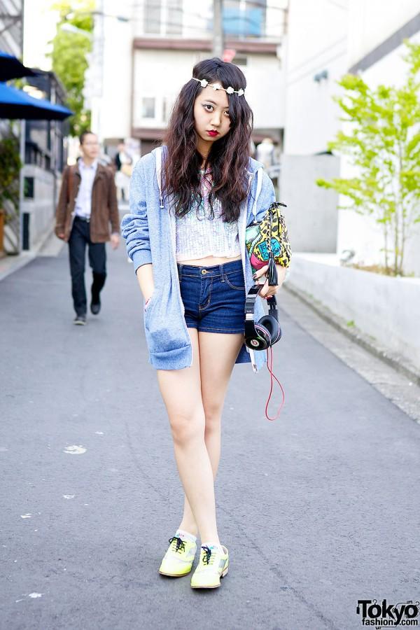 Mayupu in Harajuku w/ Sequin Top, Shorts & Betsey Johnson Bling Bling Clutch