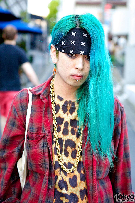 Harajuku Guy w/ Aquamarine Hair, Katie Eary Animal Print & Plaid