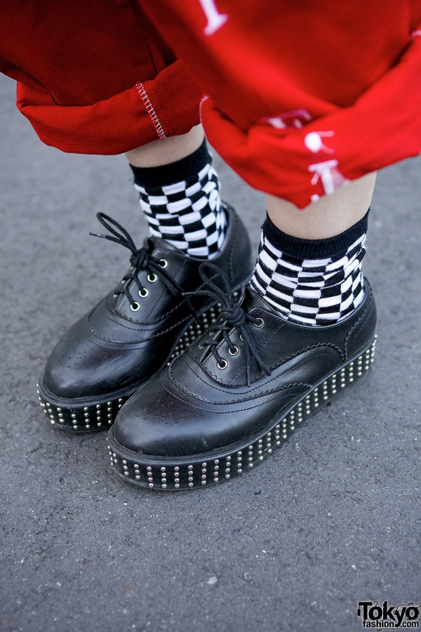 Studded Platforms & Checkered Socks