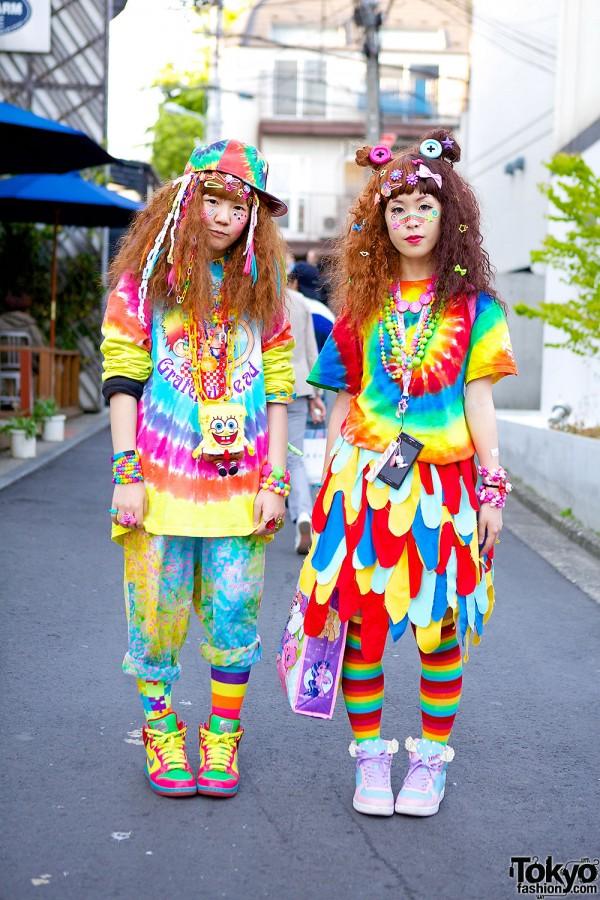 Colorful Hadeko Fashion w/ Tie-Dye & Decora Hair Clips in Harajuku