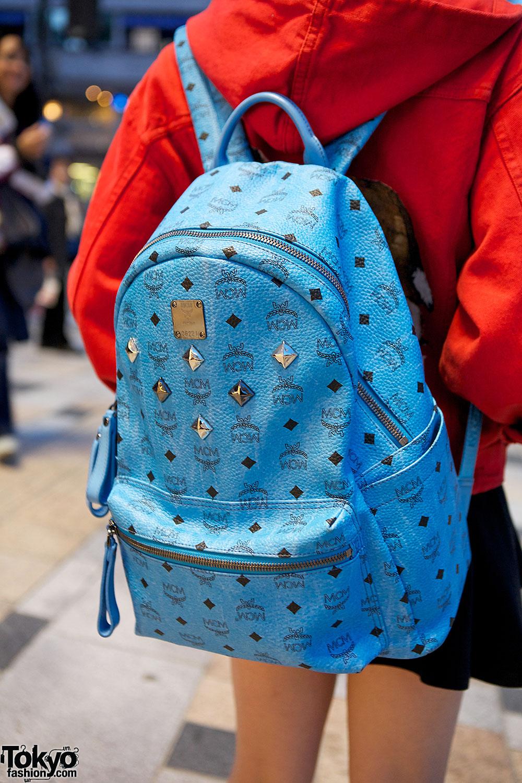 Mcm Blue Backpack In Harajuku Tokyo Fashion News