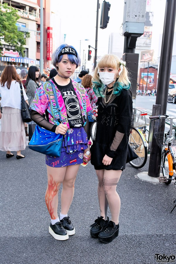 Aqua Dip Dye vs Blue Hair & Gun Tights vs Flame Tights in Harajuku