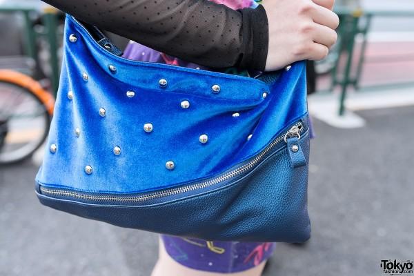 Studded Blue Shoulder Pouch