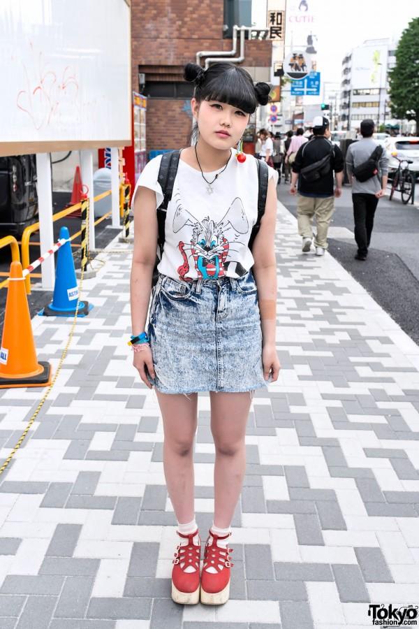Bunny Top w/ Acid Wash Skirt, Odango Hair & MCM Backpack in Harajuku
