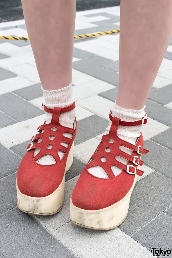 Red Tokyo Bopper Shoes in Harajuku