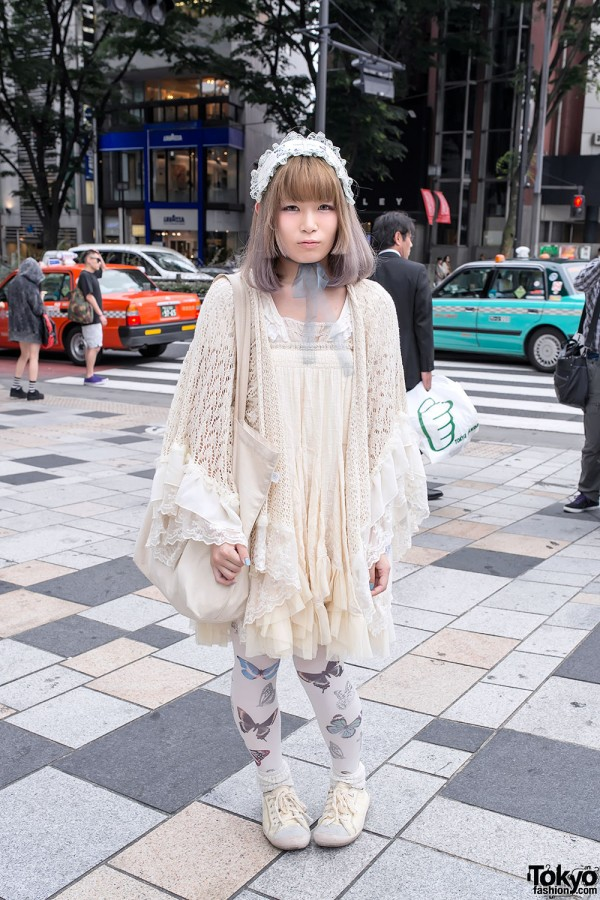Romantic Fashion w/ Butterfly Tights & Nadia Harajuku Kitty Bag