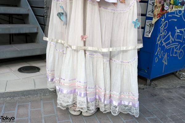 Sheer Skirt With Butterflies & Flowers