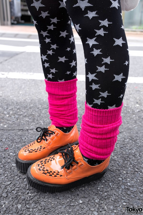 Orange Creepers & Pink Leg Warmers