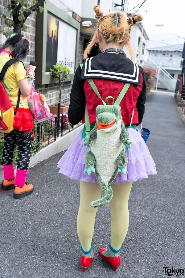 Cute Alligator Backpack in Harajuku
