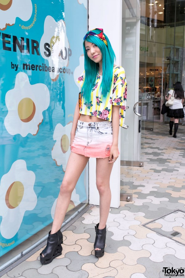Crop Top & Dyed Skirt in Harajuku