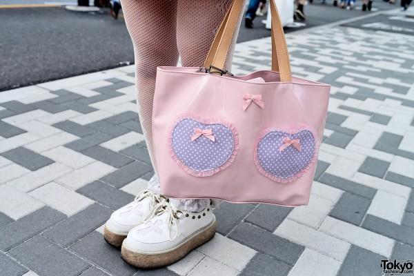 Cute Double Heart Tote Bag in Harajuku