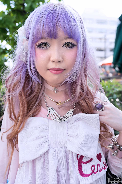Kawaii Cerise Bow Dress Lavender Hair Amp Over The Knee