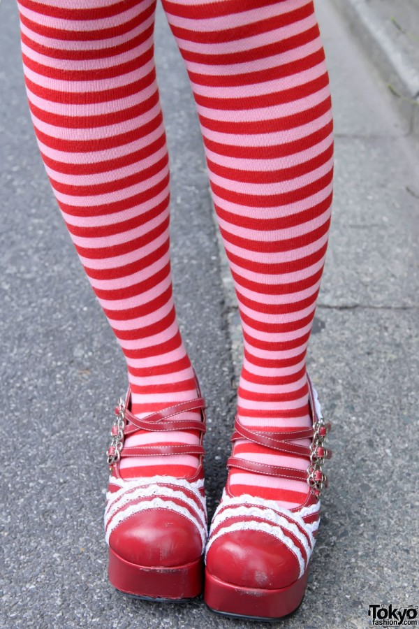 Red Striped Over-the-knee Socks, Harajuku