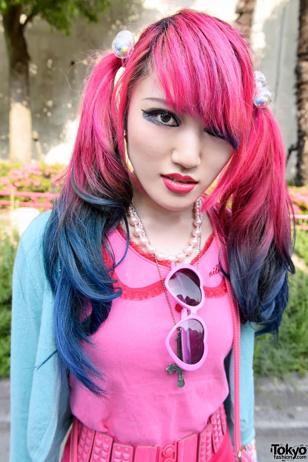 Pink-blue Dip Dye Hair in Harajuku