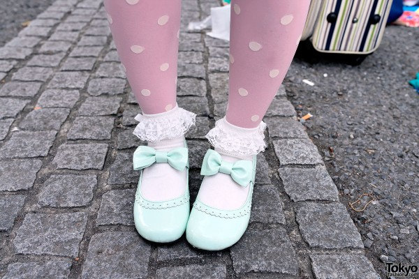 Mint Bow Shoes & Polka Dot Tights