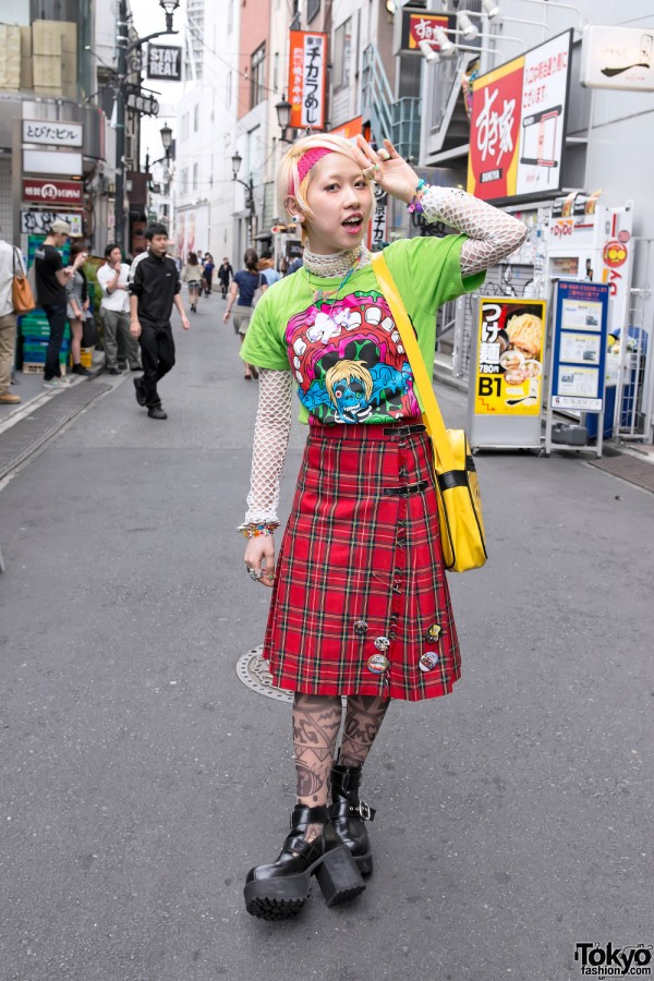 Fun Harajuku Girl in Plaid Skirt