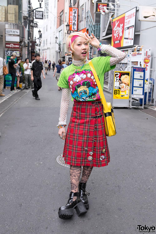 Colorful Harajuku Street Style W/ Monster T-shirt, Tartan