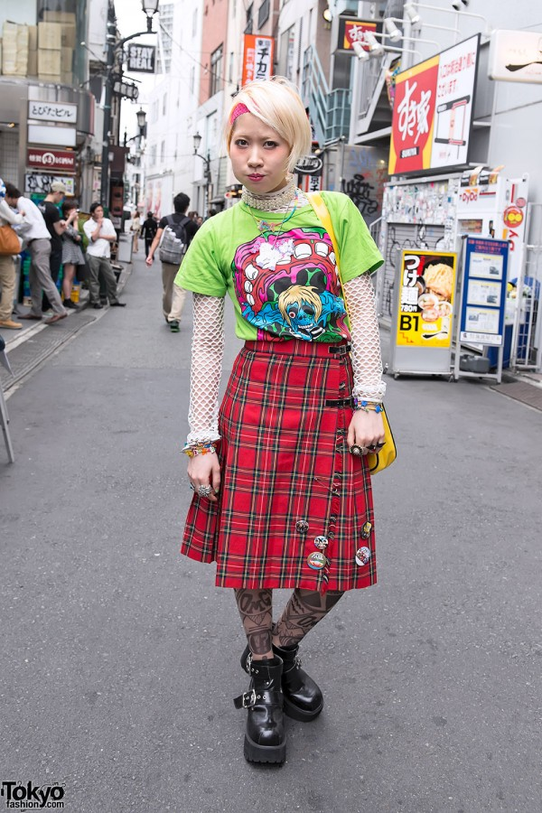 Monster T-Shirt & Tartan Skirt