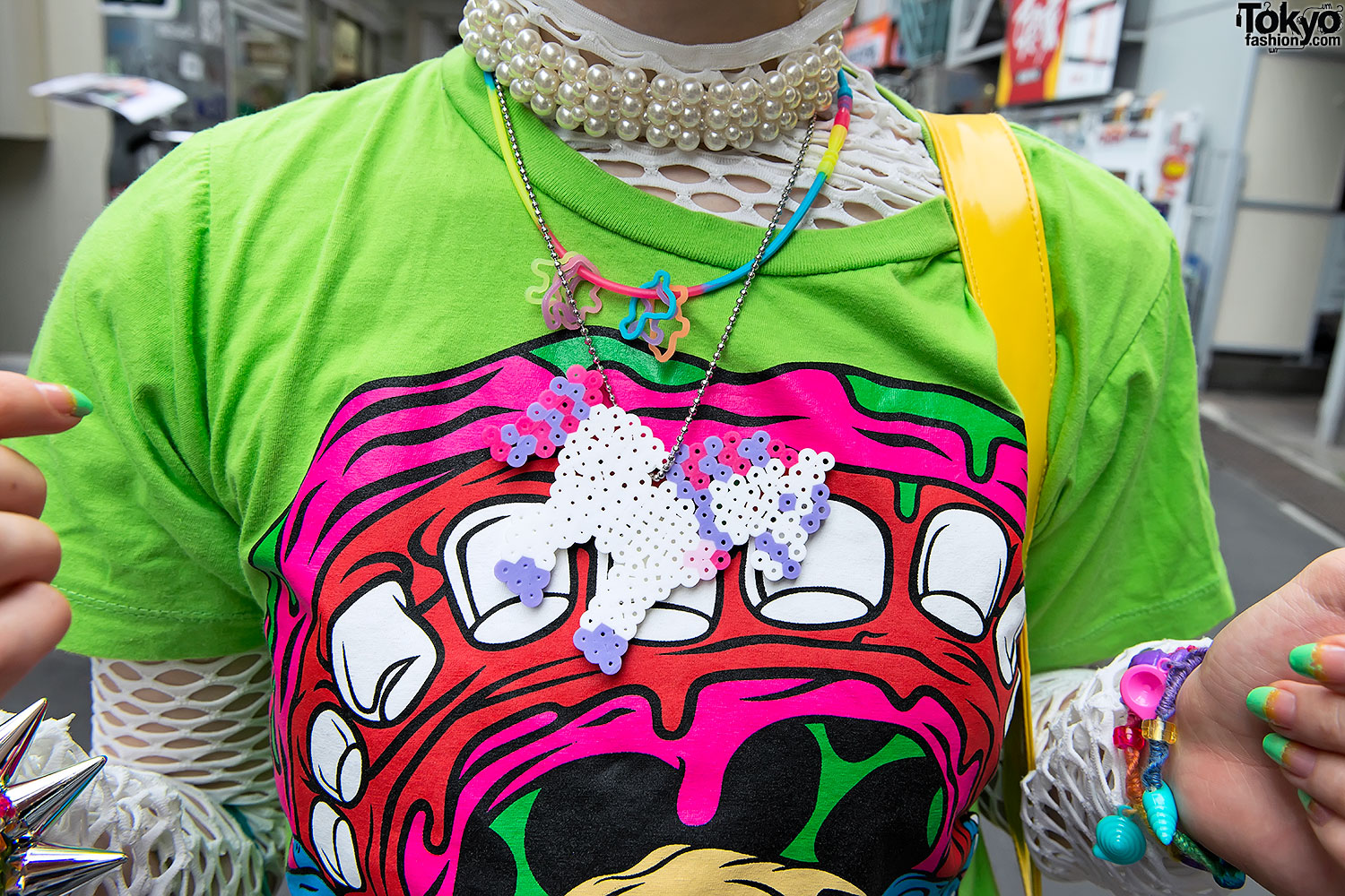 9d094d42b3 Monster Tee & Short Hairstyle in Harajuku · Pearl Choker & Pastel Pony  Necklace