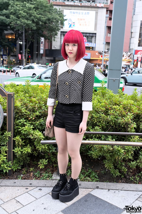 Harajuku 2NE1 Fan w/ Red Bob Hairstyle, Polka Dots & Platform Creepers