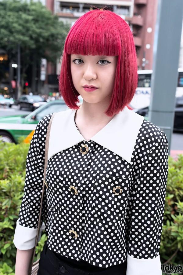 Red Bob Hairstyle & Polka Dots