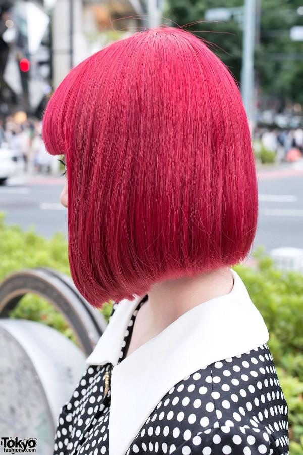 Red Bob Hairstyle in Harajuku