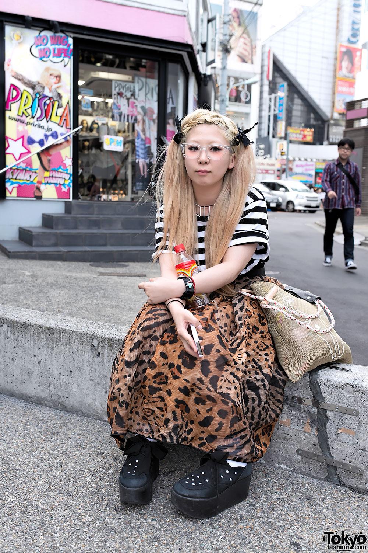 Indie Japanese Designer w/ Long Leopard Skirt & Tokyo Bopper in Harajuku