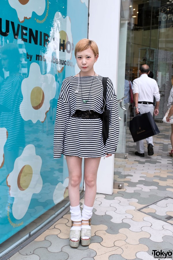 Striped Crop Top & Skirt w/ Loose Socks & Platform Sandals in Harajuku