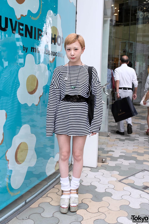 Striped Crop Top & Skirt in Harajuku