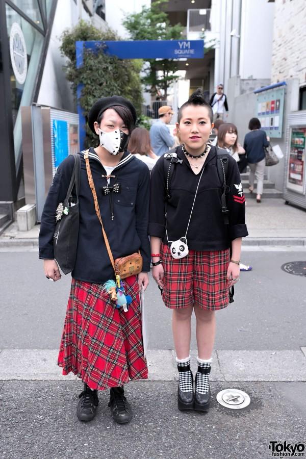 Street Punk Style & Tartan in Harajuku