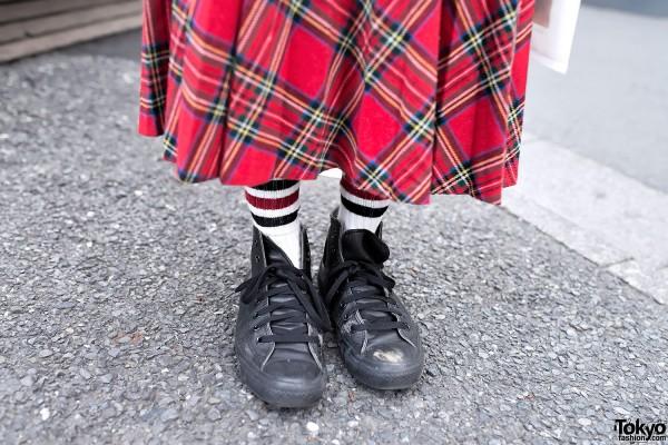Punk Tartan Skirt & Converse Sneakers