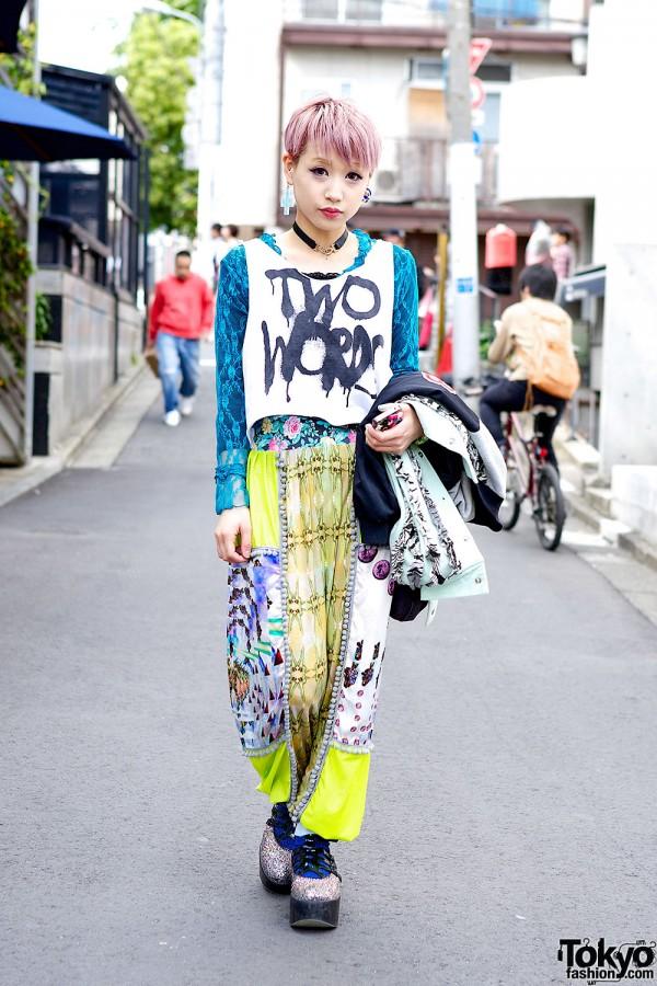Lilac Hair w/ Tata Christiane, Glitter Platforms & Betty Boop in Harajuku