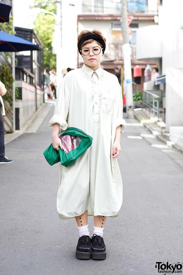 Kakavaka Maxi Shirt Dress w/ Round Glasses, Short Hairstyle & Geometric Necklace