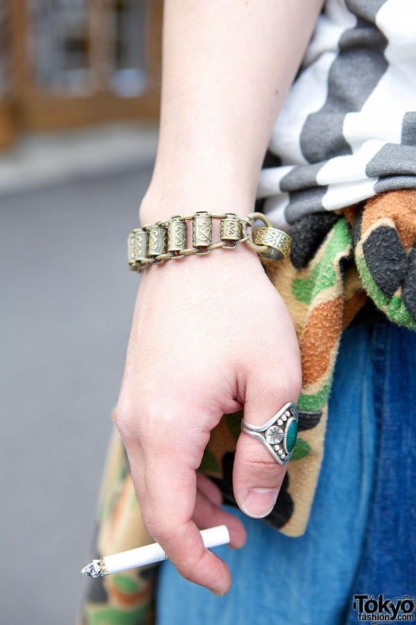 Metal Bracelet & Silver Ring in Harajuku
