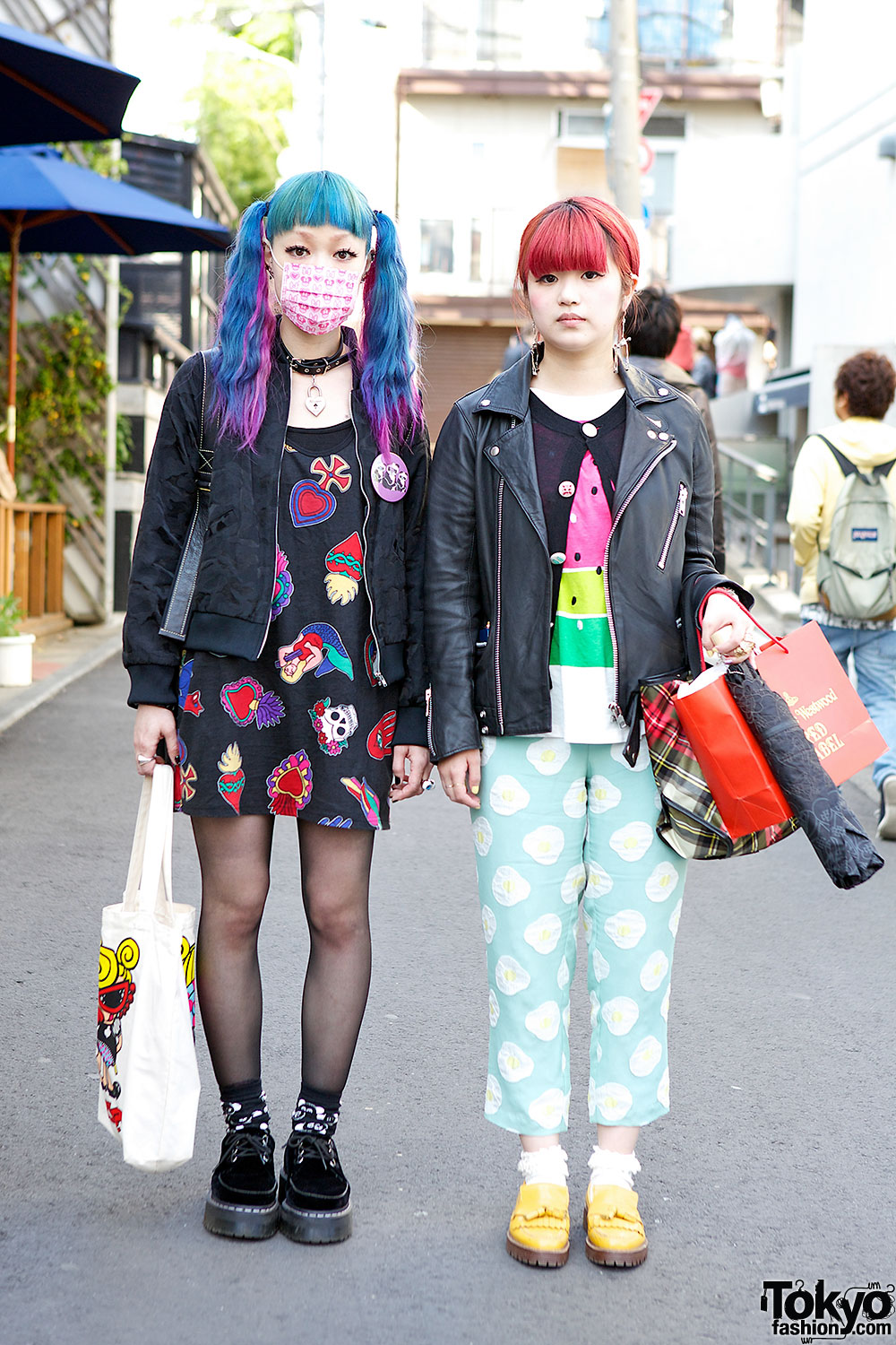 Pink Blue & Red Hair in Harajuku