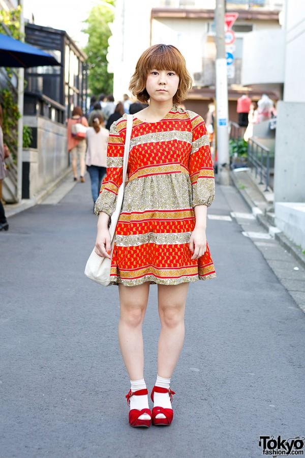 Harajuku girl in resale dress