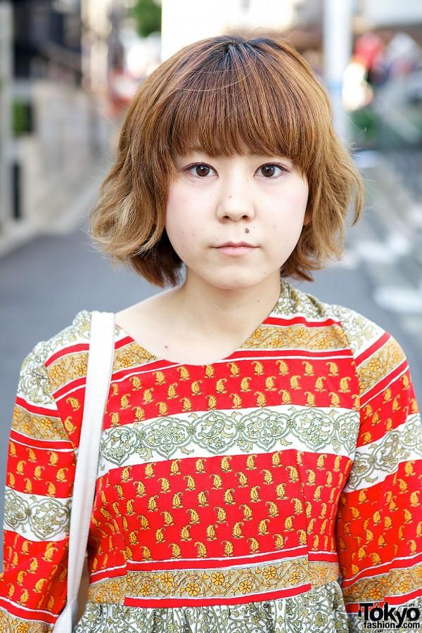 Printed resale dress in Harajuku