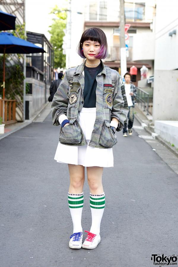 Dip-Dye Hair w/ Tarock Camouflage, Kinji Top & Mini Skirt in Harajuku