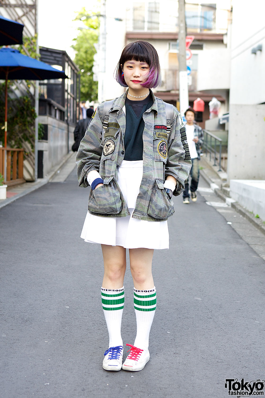 Dip Dye Hair W Tarock Camouflage Kinji Top Mini Skirt In Harajuku